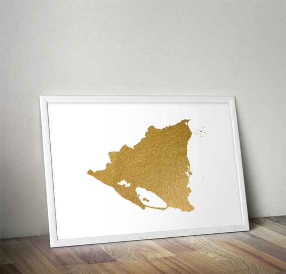 Gold Foil Nicaragua Map Printable Map Wall Art Nicaragua Map - Nicaragua map download