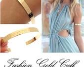 Gold Cuff Bracelet - Personalized Gold Bracelet - Upper Arm Cuff - Fashion Bracelet - inspirational sayings Bracelet - Summer Bracelet -