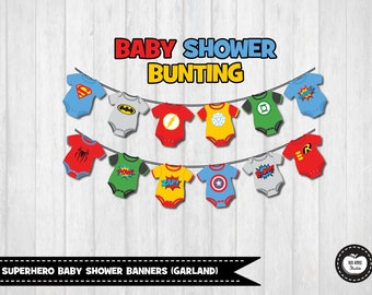 12x SUPERHERO BABY SHOWER Banners. Party Decor. Bunting. Party Flags. Garland. Super Baby. Onesie. Party Supplies. Digital Instant Download