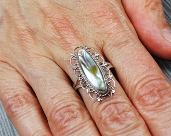 Vintage Abalone Sterling Silver Ring Sterling Shell Ring Sterling Filigree Ring Handmade Statement Ring Sterling Ring Size 8