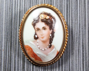 Vintage Portrait Pin Painted Limoges Made in France Brooch Hand Painted Portrait of Madame Recamier Painted Porcelain Pin - Free Shipping