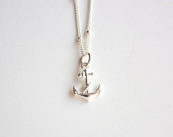 Sterling Silver Anchor Necklace - Nautical necklace