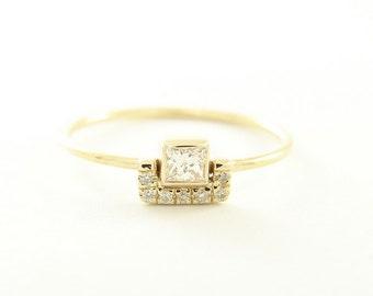 Square Diamond & Pave Diamonds Ring - 14k Gold Diamond ring - Diamond Engagement Ring