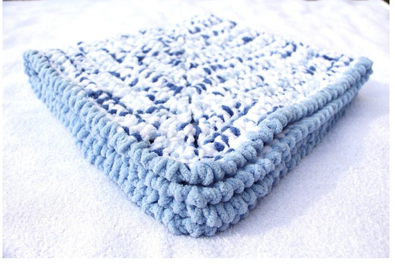 Blue Baby Blanket Crochet Baby Blankets Chenille Baby by ...