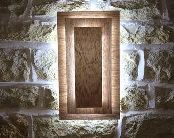 Handmade Wall Light LED Wooden Square Block Lighting Modern Accent Wall Light Wall Lamp Layered Abstract Zen