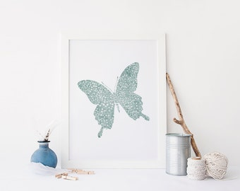 PRINTABLE Art Butterfly Art Print Insect Art Print Butterfly Wall Art Floral insect Art Print Blue Floral Art Print Nursery Decor Art Print