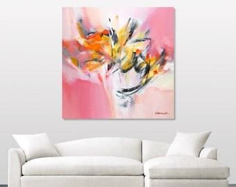 Pink Orange Abstract Painting Modern Original Pink Orange Yellow White Painting