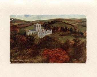 Unused Devonshire England Castle Vintage Postcard Raphael Tuck Textured Oilette Art Buckfast Abbey Valley Dart by Eric Lamb - 2936e