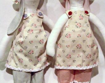 "Tilda twin rabbit dolls, plush rag dolls, collectable twin dollies, home or nursery decor 14"" tall"