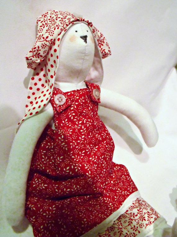 Tilda plush rag doll, decorative collectable doll, Tilda bunny rabbit doll wearing a red floral outfit,