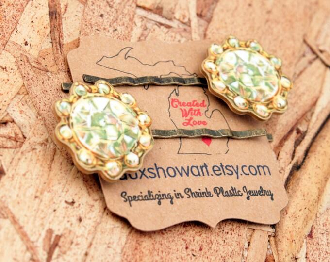 Gem hairpin - Printed Gem - Faux Jewel - Hair clip - Bobby pin - Hair jewelry - Jewel hairpin - Shrink Plastic - Chunky Diamond - Flower