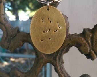 Custom, Constellation, Metal Stamped, Hand Stamped, Keychain