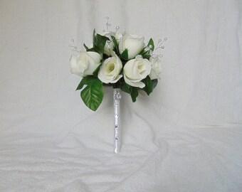 White Rose Bouquet - Brides Bouquet - Rose Bouquet - Bouquet with Pearls - White Bouquet - Bridal Bouquet