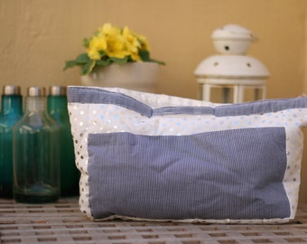 Cotton bag made by hand, with blue and white stripes and polka dots handmade silver soft bag