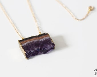 Amethyst slice pendant necklace