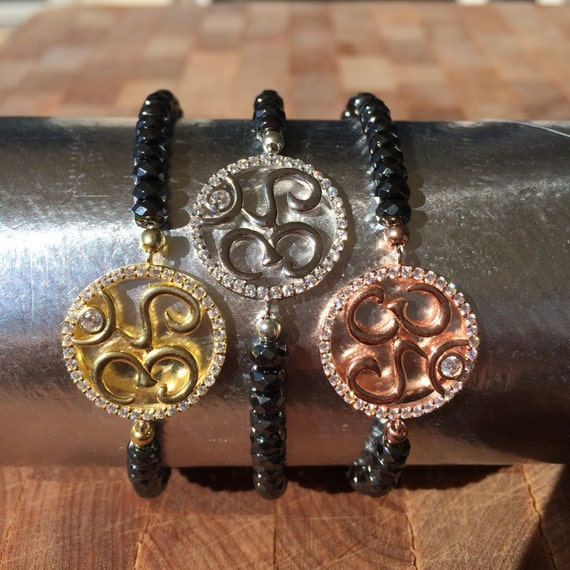 Om bracelet with real hematite stones and sparkly cubic zirconia, original exclusive design for the Yogini in you
