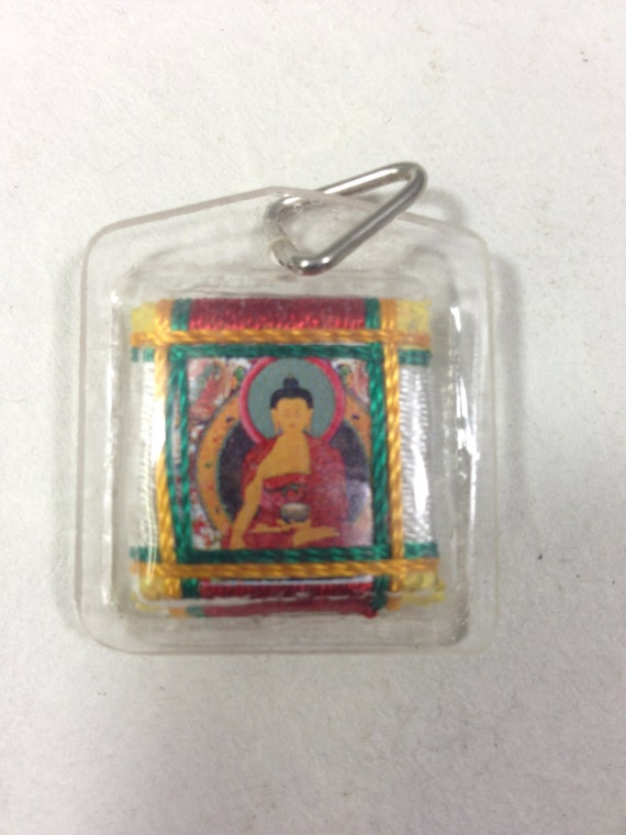Pendant Nepalese Pendant Buddha Painted Handwoven Plastic Handmade Handcrafted Jewelry Necklace Pendant Colorful Unique