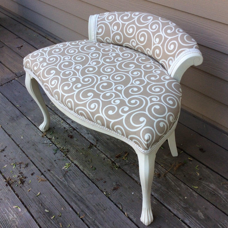 Elegant vanity chair annie sloan chalk paint old by dixhilldecor - Elegant vanity stools ...