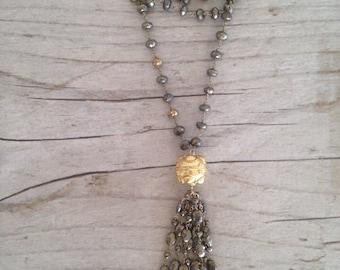KIRSTEN II pyrite tassel necklace