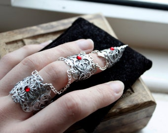 Mythical Armour Ring - Full Finger Claw Ring - Silver Adjustable - Elven Armor - Vampire Jewellery - Halloween Costume - Cosplay Jewelry