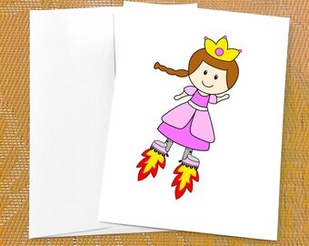 Funny Birthday Card for Her - Cute Princess Card - Skates - Funny Birthday Card for Girl - Cute Birthday Card - Funny Birthday Card Friend