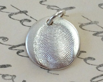 Thumbprint Necklace Jewelry Charm .999 Fine Silver Charm Personalized Mother's Day Gift for Her using Ink Print or Mold