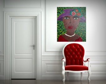 "Abstract paiting - ""Lady in the garden"" (50x60cm) by Roxana Patricia Nita"