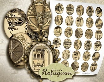 30 oval Images 3x4 cm, Digital Collage Sheet,vintage industrial, jewelry images, steampunk printable
