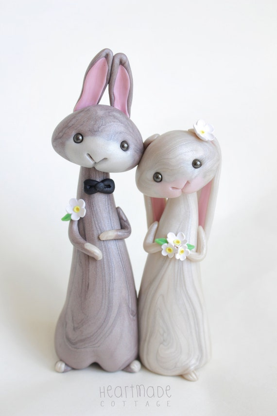 bunny wedding cake topper rabbit wedding cake topper personalized animal clay cake 12223