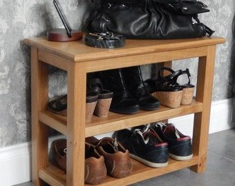 Handmade, Oak, Table with 2 shelves, Shoe Table, Shoe Bench, Entryway Furniture, Storage Shelf, End Table, Shoe Rack, Bedroom Storage, Shelf