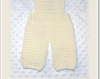 Newborn Baby Crocheted Cream Overalls with Adjustable Button Shoulder Straps