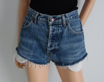 High waisted shorts, vintage blue denim jean shorts, frayed pockets showing, distressed denim hotpants, small waist 27 28