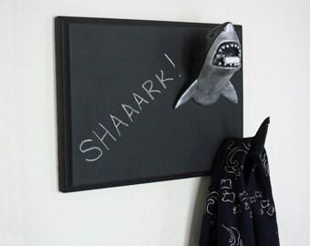 Great White Shark Sculpture - Chalkboard, Coat Rack, Jewelry Display, Key Hook