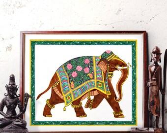 Elephant Wall Art, Traditional Indian Elephant Watercolor Painting, Elephant Decor, Bohemian Elephant Art Prints and Original Painting 034
