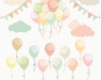 Happy Birthday Balloons PASTEL BALLONS Birhtday Party Clipart 20 Images 300 Dpi Eps Png Files Instant Download