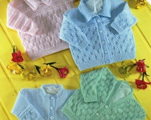 baby cardigans knitting pattern baby sweater with collar lacy cardigans 4 ply premature 12-22inch baby knitting pattern pdf instant download