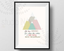 pastel printable, A4, Let Her Sleep for When She Wakes She Will Move Mountains Printable - pastel, nursery printable,