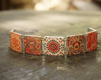 Autumn bracelet, Fall bracelet, Autumn jewelry, Fall jewelry, Orange bracelet, Links Bracelet, Statement bracelet, Fall colors jewelry
