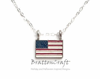 American Flag Necklace - USA Flag Necklace - 4th of July Necklace - Patriotic Necklace - Red, White and Blue Necklace