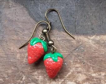 Handmade strawberry dangle Earrings