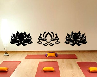 Lotus Wall Decal- Yoga Wall Decal- Lotus Flower Yoga Decals- Lotus Wall Art Flower Floral Living Room Bedroom Yoga Studio Home Decor Z818