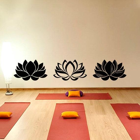 Yoga Studio Wall Decor : Lotus wall decal yoga flower decals