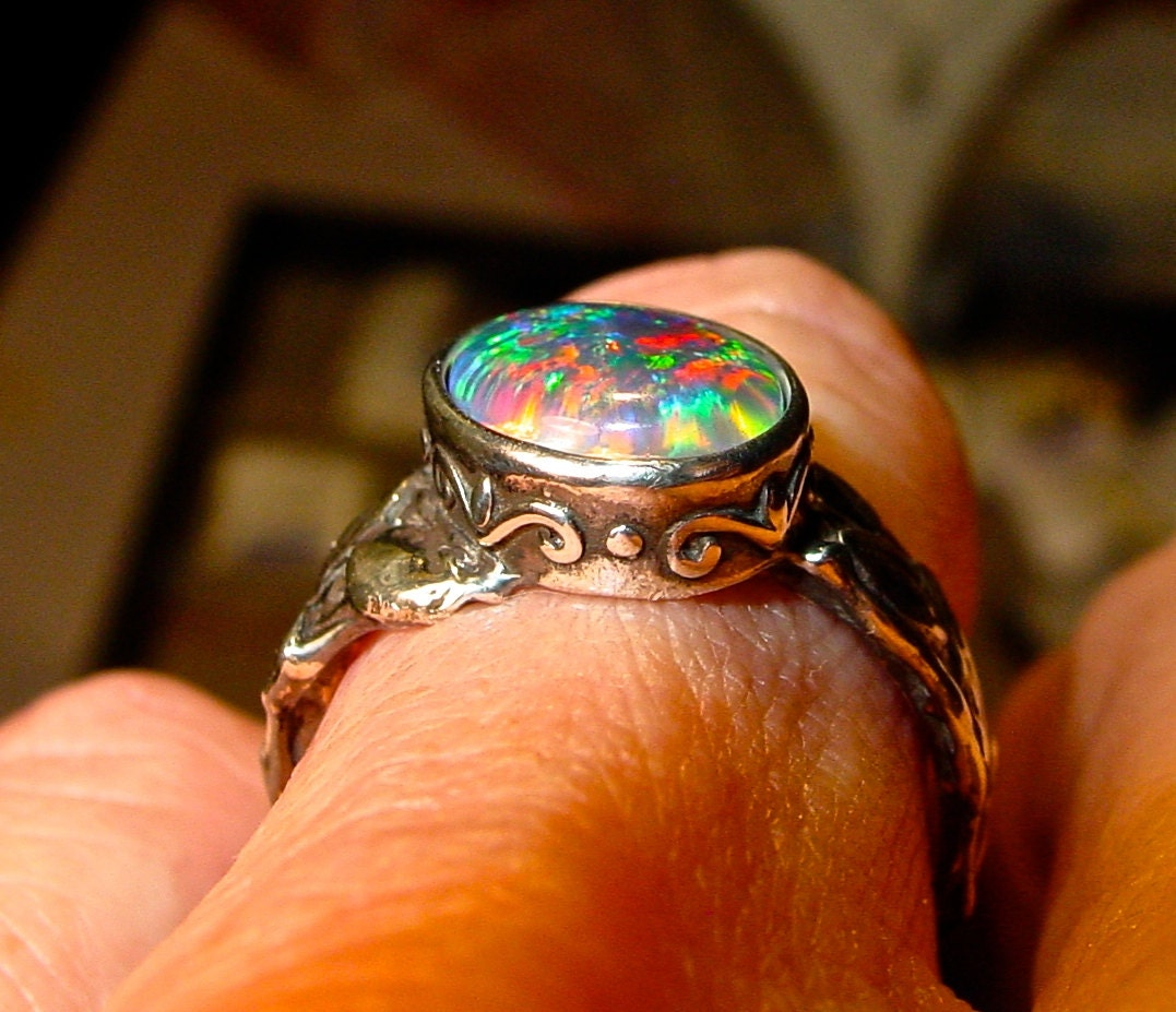 Handmade Opal Engagement cocktail Ring Natural by AmyKJewels