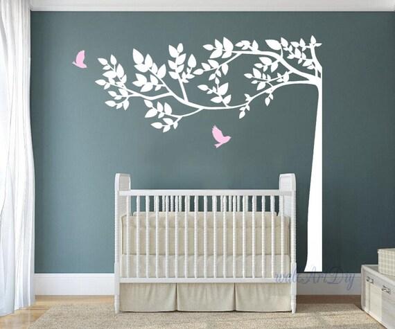 Albero adesivi murali bianco e rosa albero muro di wallartdiy - Stencil parete albero ...