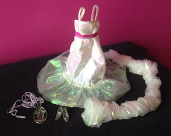 Crystal Barbie Ensemble 80s Vintage Dress, Shoes, Boa and Necklace Doll Clothing