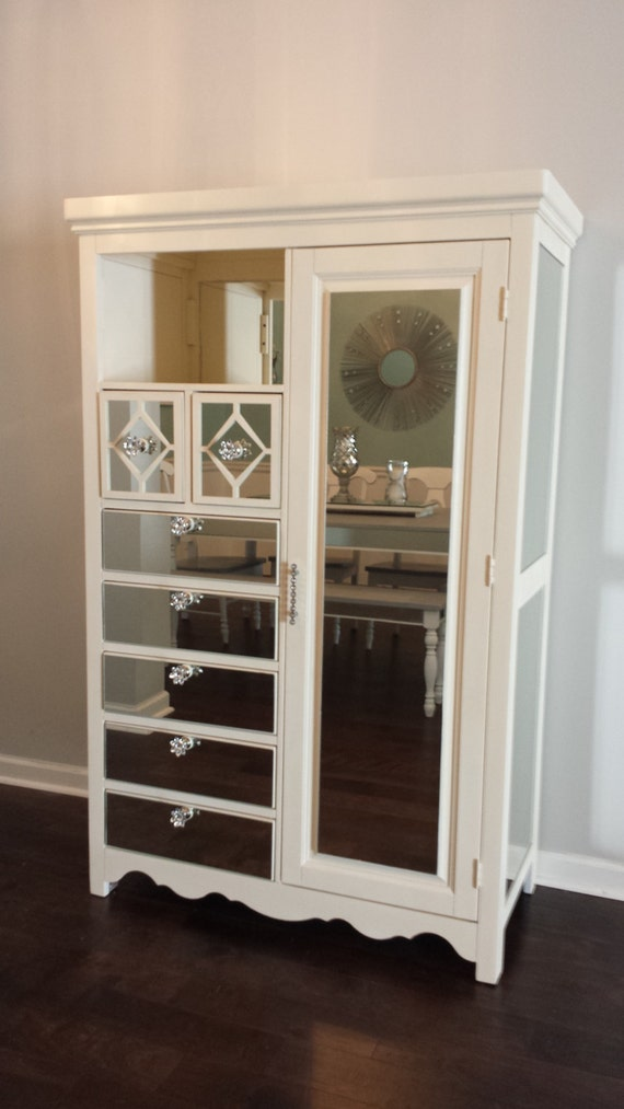 items similar to mirrored armoire old white with diamond overlay chic mirror dresser annie sloan old white chalk paint on etsy