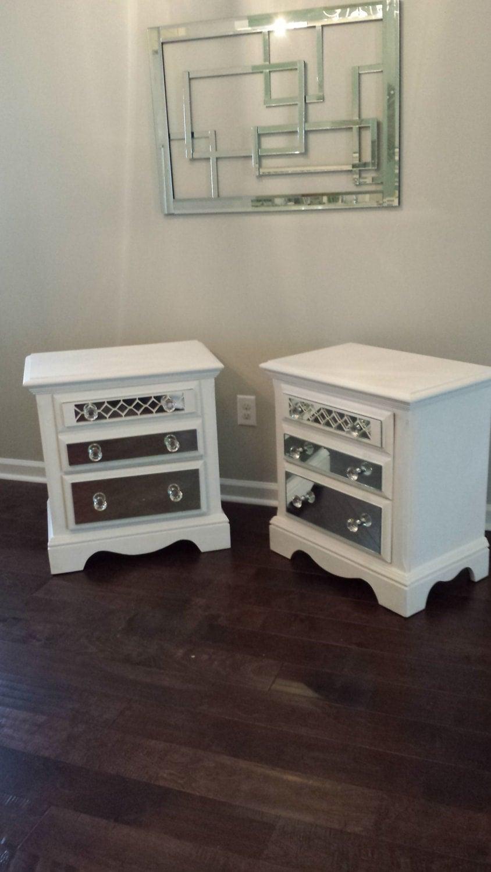 Mirrored nightstand set with diamond overlay pure white chic for Mirror nightstand