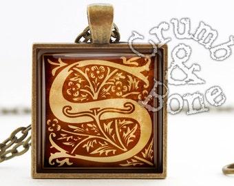 Initial S Jewelry, Initial S Necklace, S Custom Monogram Pendant Tudor Alphabet Initial S Pendant Necklace Medieval Letters Monogram Jewelry