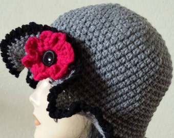 Chic Gray Cloche Floppy Hat with Deep Pink Flower