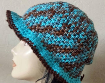 Womens Cloche in Turquoise and Brown